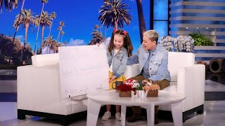 Brielle Presents Ellen with a Check from Her Necklace Fundraiser