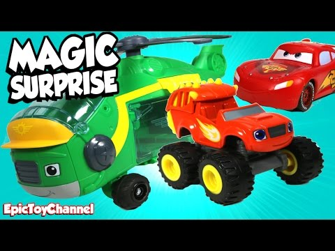 MAGIC SURPRISE TOYS Blaze and the Monster Machines + Disney Cars Toys Surprises, Dino Blaze Surprise