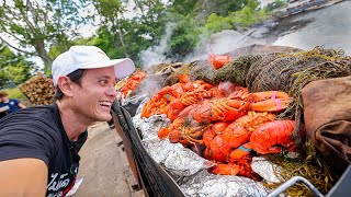 New England HUGE CLAMBAKE!! 298 Lobsters, Clams, Corn on Cabbage Island!!