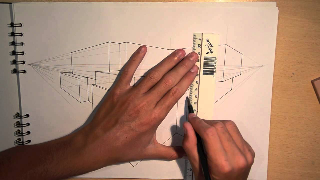 Architectural Drawings Of Modern Houses architecture | design #1: drawing a modern house (2-point