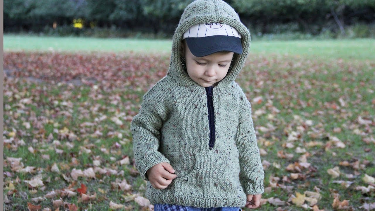 Zippered Hoodie Knitting Pattern : How to knit a hooded pullover for a child. Video tutorial ...