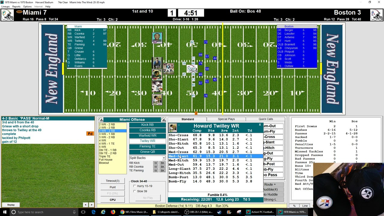 Action Pc Football 1970 Replay Week 1 Dolphins Vs Patriots Youtube
