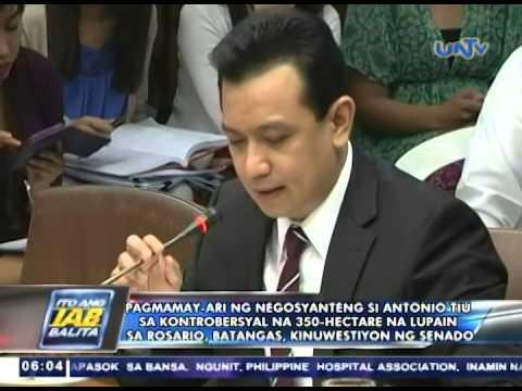 Pagmamay-ari ni Antonio Tiu sa kontrobersyal na 350-hectare na lupain sa Batangas, kinuwestyon