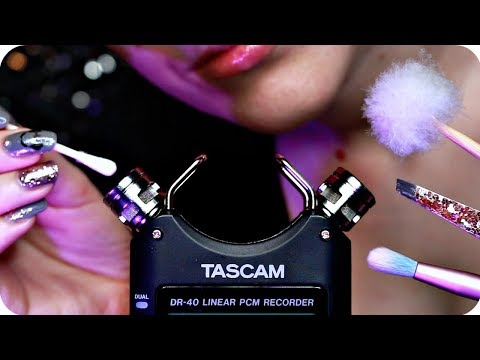 ASMR Tascam Tingly Ear Cleaning ✨ Mic Tapping, Tweezers, Q-Tips, Brushing, Feather Pick ✨ NO TALKING