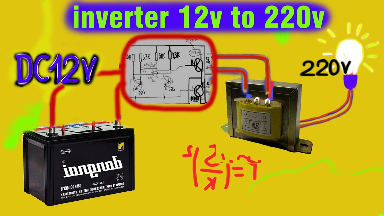 How To Dc Power Inverter 12v Battery To 220v Youtube