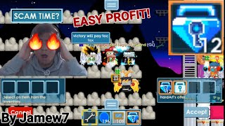 a Pro Asian Boy MIDDLEMAN 12 Blue Gem Lock! (EASY PROFIT!) OMG!! - Growtopia