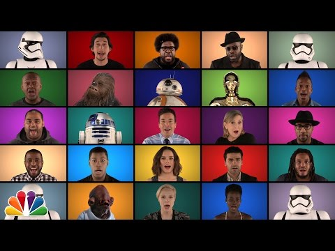 "Jimmy Fallon The Roots & ""Star Wars: The Force Awakens"" Cast Sing ""Star Wars"" Medley A Cappella"
