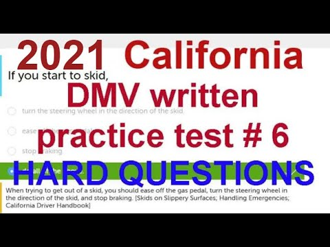 2018 California DMV Written Test # 6 (HARD QUESTIONS) - California DMV Written Test 2018
