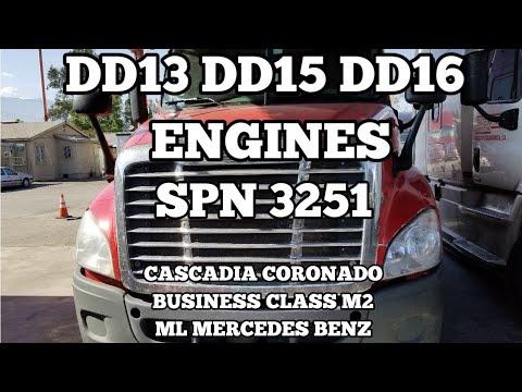Freightliner cascadia DD13 DD15 DD16 spn 3251 fmi 02 DOC DPF pressure high  SCR box