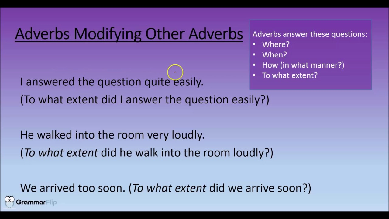 Adverbs Modifying Other Adverbs Grammar Lesson Trailer Youtube