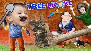 HELLO NEIGHBOR BROKE OUR TREE!! Oreo's Pavilion vs Fallen Tree (FUNnel Fam Hurricane Vlog)
