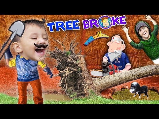 HELLO NEIGHBOR BROKE OUR TREE!! Oreo's Pavilion vs Fallen Tree (FUNnel Fam Hurricane Vlog)