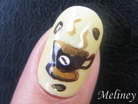 nail art tutorial coffee bean cup
