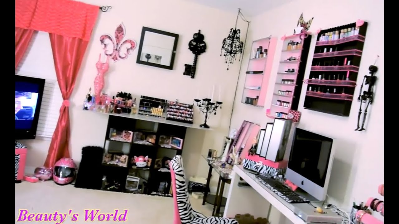 Room tour my makeup room tour youtube for Make my room