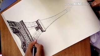 How to draw the eiffel tower     tame lapse video for full and slow step by step video put a like