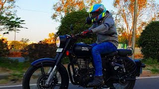 Royal Enfield Classic 500 Stealth Black ABS First Ride Review Braking Test #Bikes@Dinos