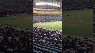 2017年4月6日 中日ドラゴンズVS広島カープ戦の始球式の様子.