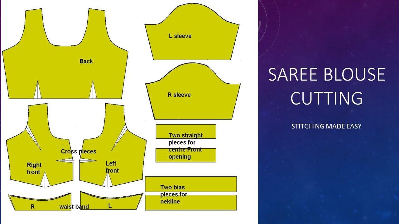 घर में साड़ी ब्लाउज कट और सिलाई - आसान चरणों में Blouse Cutting Made Easy