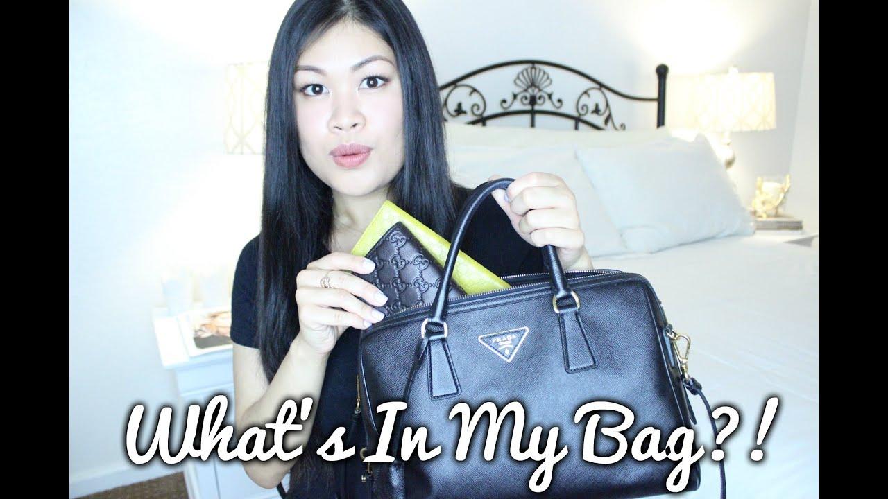 What\u0026#39;s In My Bag 2015!   Prada Saffiano Bowler Bag - YouTube