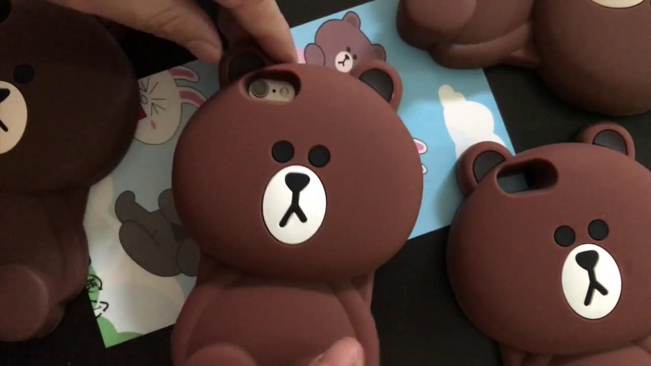 wholesale dealer 04882 ee650 Case Iphone 6 y 7 Bear Line Friends Brown