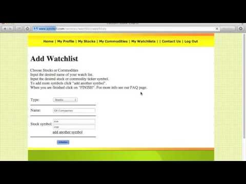 How To Add A Watch List And Ticker Symbols To Our Free Stock Charting Service