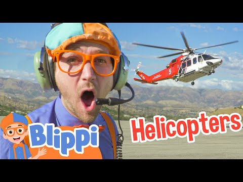 Blippi Explores A Fire Helicopter | Learning Vehicle Videos With Blippi