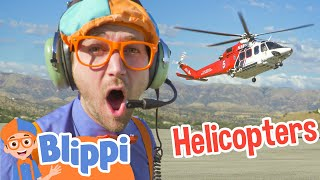 Blippi Explores A Fire Helicopter Learning Vehicle Videos With Blippi