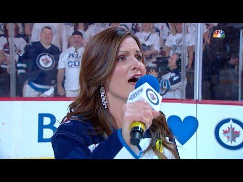 VGK@WPG, Gm1: Nattrass sings the Star-Spangled Banner