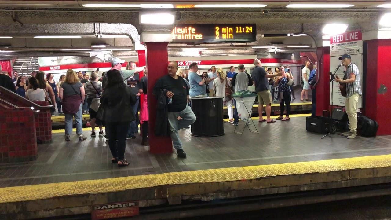 Busker on Boston Subway
