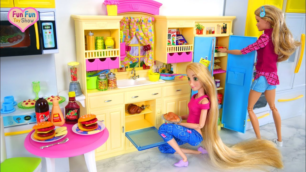 Baby Born Interactive Küche New Barbie Doll Kitchen Playset Hot Dog Hamburger Set Dapur Boneka Barbie Puppe Küche