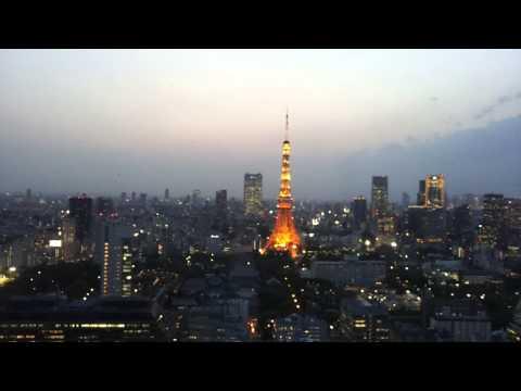 World trade center tokyo time lapse coucher de soleil sur la tokyo tower