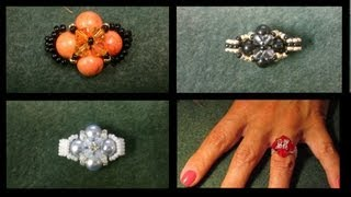 Very basic beginners ring with Swarovski beads beading tutorial