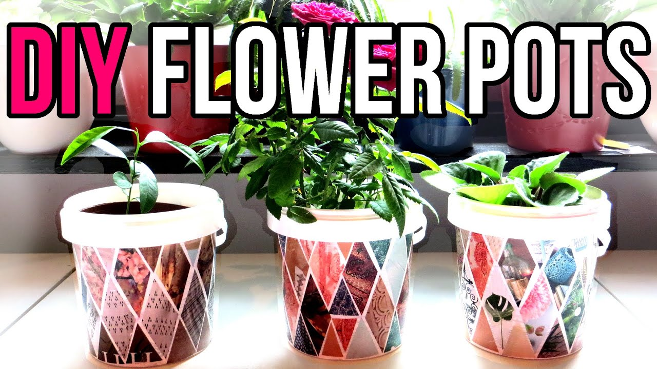 Diy flower pots recycle yogurt containers recycled for Flower pot making with waste material