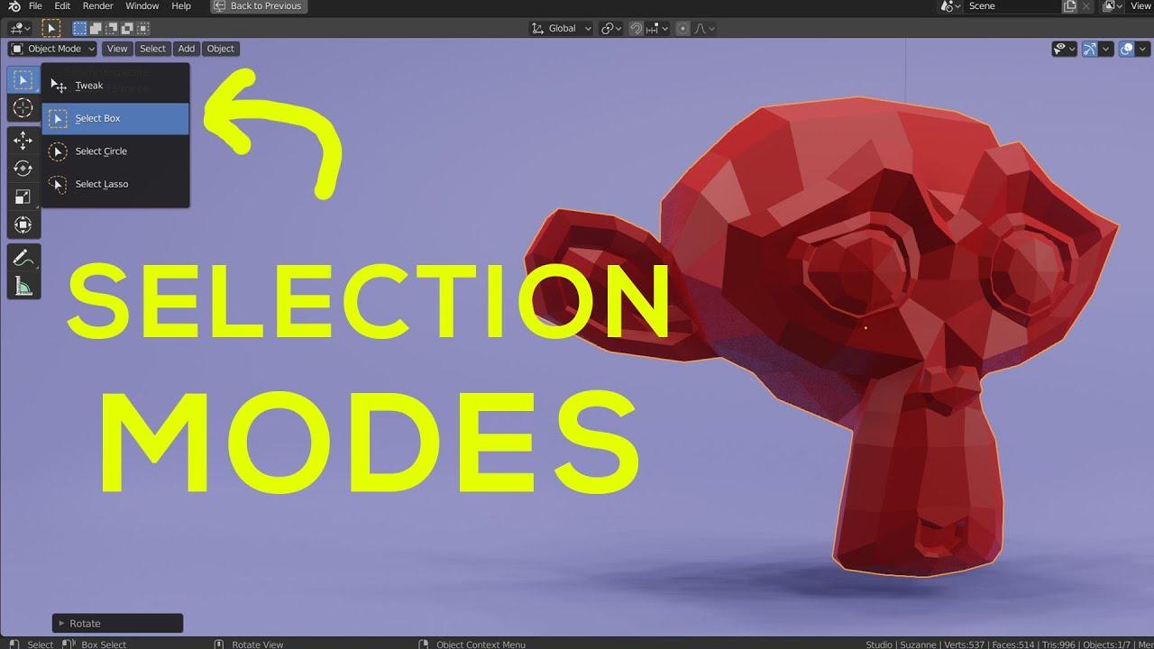 Selection Modes, X-Ray, & Deselect in Blender 2.8 (Tweak, Box, Circle, & Lasso Select)