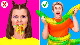 GUMMY FOOD VS REAL FOOD CHALLENGE || Last To Stop Wins! Eating Giant Candy by 123 GO! FOOD