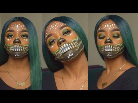 Neon Skull Halloween Makeup Tutorial: Easy Skull Makeup   LMB thumbnail