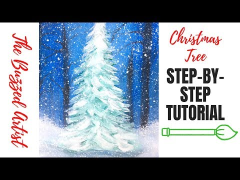 Easy Snowy Christmas Tree | Acrylic Painting Tutorial for Beginners