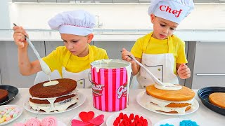 Vlad and Niki Cooking and playing with Mom - Funny stories for children