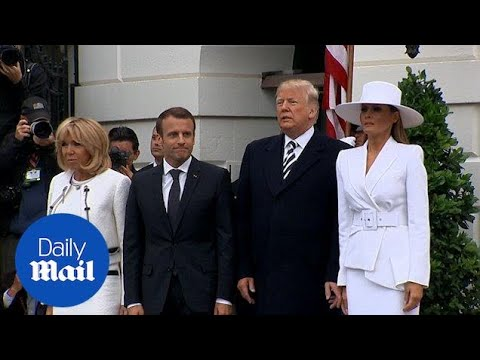 Donald and Melania greet Macron's at White House ceremony - Daily Mail
