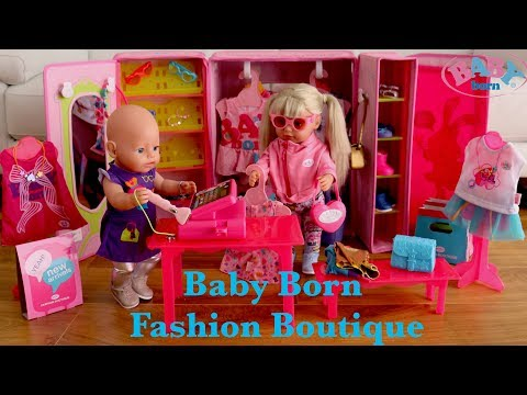 Baby Born Boutique Fashion Shop Unboxing Set Up and Baby Doll Fashion shopping Pretend Play