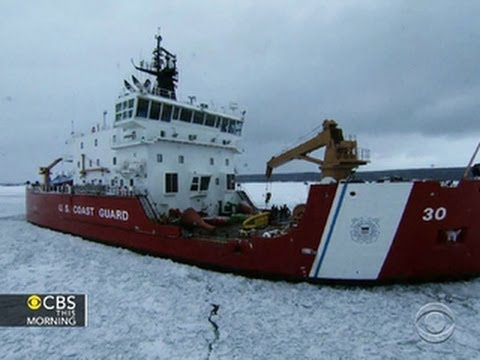 Coast Guard ice cutter clears way through frozen Great Lakes