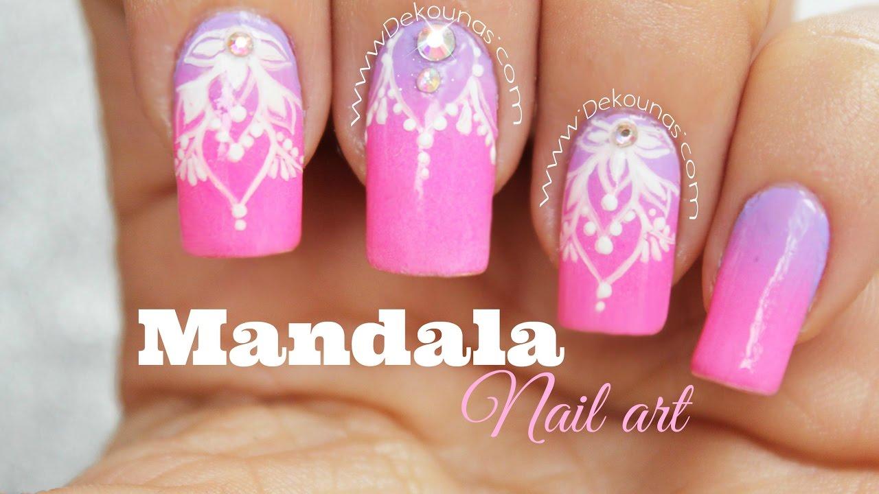 Decoracion De Uñas Mandala Facil Mandala Nail Art Youtube