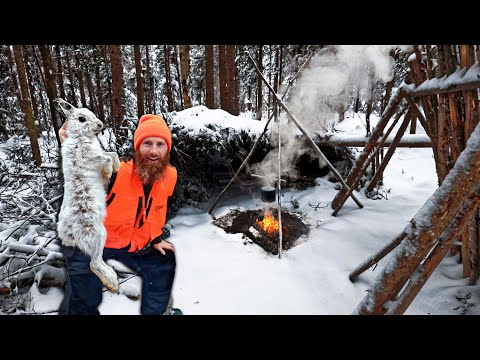 Eating Only What We Catch for 48 Hours Winter Survival Challenge (day 2)!