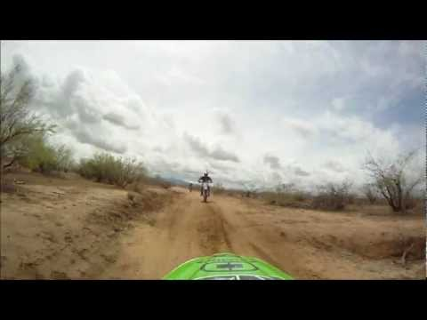 Riding fast through Arizona trails on dirtbike, tail cam, 4-9-11