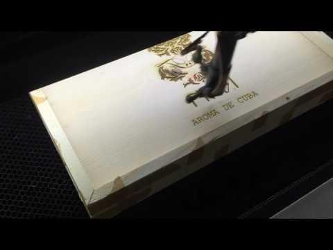 Wood laser engraving - Aroma de Cuba cigar box