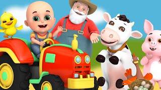 Old Macdonald Had a Farm - animal sounds | cartoon for kids | Jugnu Kids nursery rhymes & blocks