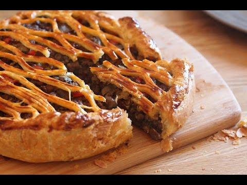 tourte-feuilletée-à-la-viande-&-aux-champignons-/-فطيرة-اللحم-والفطر
