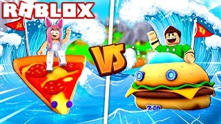 PIZZA BOAT VS HAMBURGUESA BOAT EN ROBLOX