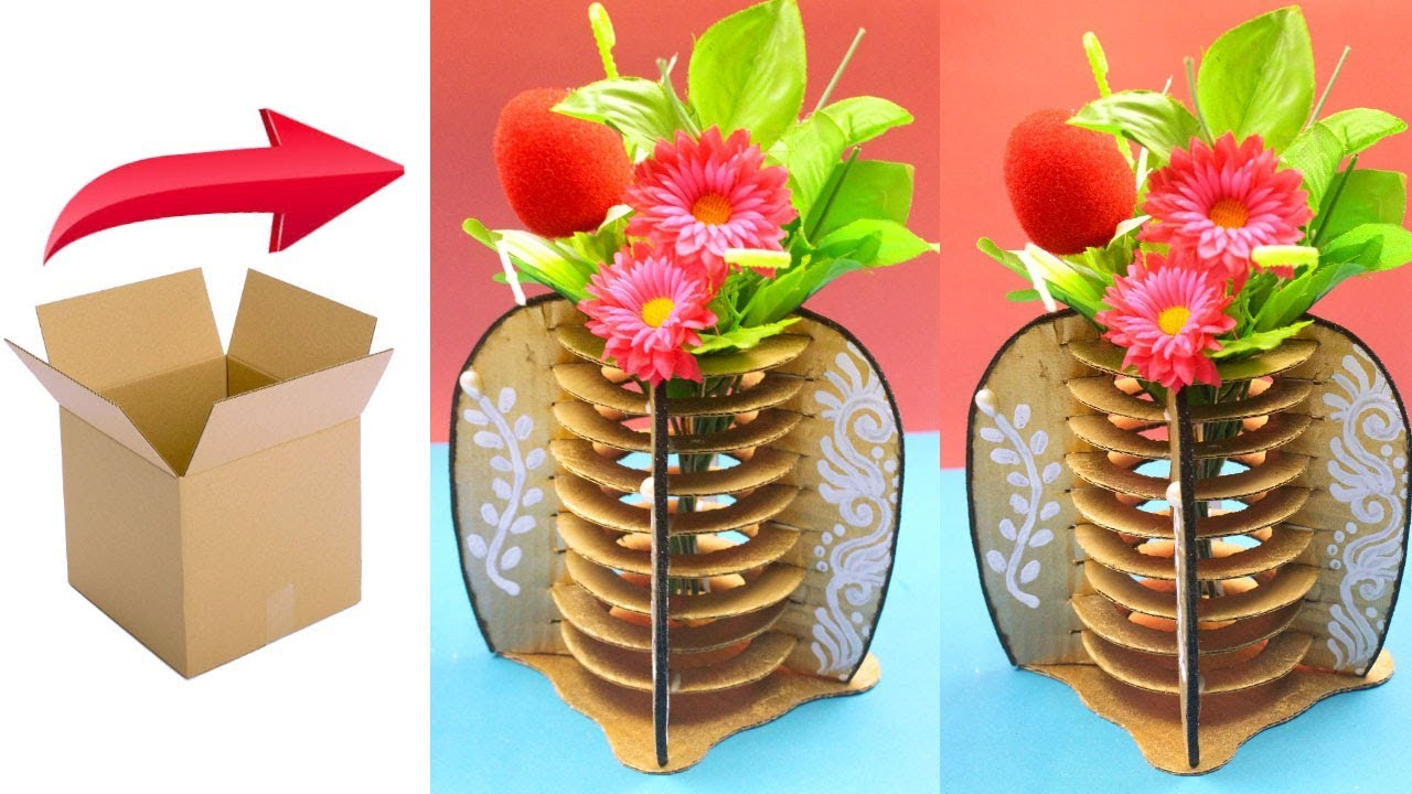 168 & DIY - How to make flower vase with cardboard - Unique home decorative vase using recycled cardboard
