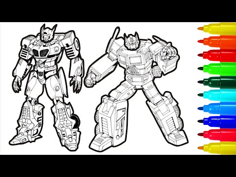 Transformers Coloring Book For Children With Colored Markers - YouTube